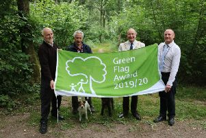 Pictured at Oakley Wood from left to right: Jon Holmes from Warwick District Council, Rod Scott Friends of Oakley Wood, Cllr George Illingworth, Chairman WDC, Simon Richardson from Warwick District Council.