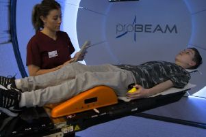 Mason Kettley finishing his first of 28 proton beam therapy treatments. Picture: BBC Horizon