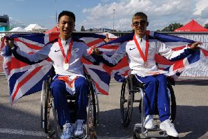 Zien Zhou (left) won three medals at the World Para Athletics Junior Championships  in Switzerland. Photo by Tony Zhou