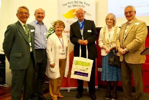 Last year's Dementia support event. From left to right: Cllr Les Caborn, Warwickshire County Council, Tony Britton, Pam Britton Trust for Dementia, Cllr Pam Redford, Warwick District Council, Mr Gerald Calver, Mayor's Consort, Cllr Heather Calver, Leamington Town Council and Town Mayor, and Cllr Wallace Redford, Warwickshire County Council.