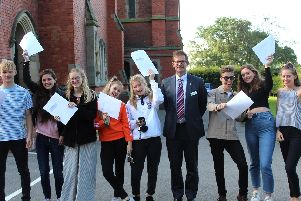 A-level students with Princethorpe College headmaster Mr Hester.''Left to right: Tom Warne, Beth Elliot, Lizzie Carr, Maddie Knight, Sammy Inskip, Ed Hester, Alfie Thomson, Georgie Glasspool and Aisling Brennan.''Photo and caption submitted
