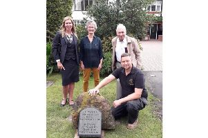 Jenny Ireland with Henry and Ison and Sons Funeral Directors of Kenilworth, Town Cllr Kate Dickson, local historian Graham Gould and Guy Wright, with stonemason G H Davies & Son.