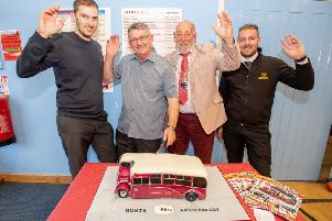 Directors Joe Hunt and Michael Hunt (the grandson and son of founder Michael Hunt), alongside the Mayor of Alford Grant Allen and tour driver Ben Abbott.