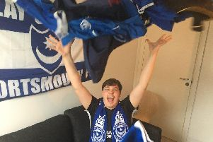 Rasmus Srensen has a number of Pompey shirts in his collection. Picture: David Darlington
