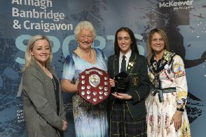Youth School Team sponsored by Armagh Sports and Trophies  Award winner: St Catherine's College U16 Girls Gaelic Football Team, presented by Sheena Kerr-McNally (Armagh Sports and Trophies), Lord Mayor Cllr Mealla Campbell and Lady Mary Peters