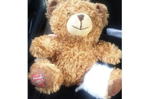 The Arsenal Teddy given by the Acorns Children's Hospice shop in Southam to comfort the boy who had been knocked down by a car. Photo courtesy of the Warwickshire Rural Crime Team.