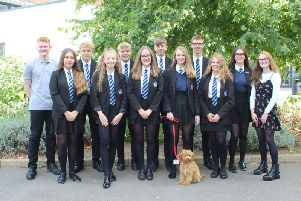 Lulu with pupils at North Leamington School. Photo supplied.