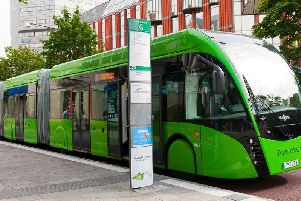 An example of an on-road tram system in Sweden