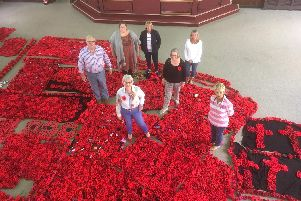Richard Warren of the Warwick Poppies projectvisited Exmouth with fellow group members last week to hand over the knitted flowers.Photo by Warwick Poppies