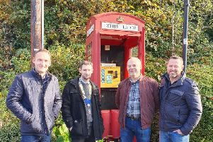 From left to right: Jon Hardman, the lead campaigner for the Ashow defibrillator, Alex Jupp, the Kenilworth Round Table Chairman, Stephen Edwards the Ashow Village Chairman and Martin Turner.