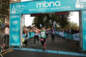 Penny Rusbridge finishing the Chester Marathon