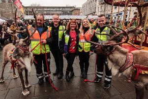Some of the CJ's Events Team with the reindeer and their handlers. Photo by Sync:MEDIA UK