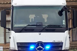 The specially-adapted lorry makes it easier for officers to see if drivers are using phones at the wheel.