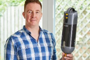 Paul Bagwell from Leamington Spa pictured with Capsule, his just-launched carbon fibre cordless vacuum