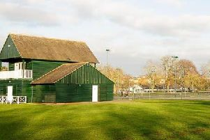 The tennis courts and pavilion at Victoria Park in Leamington.