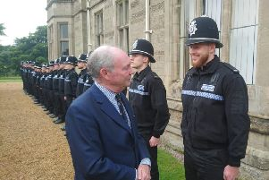 Warwickshire Police and Crime Commissioner Philip Seccombe with new police recruits at the Leek Wootton HQ.