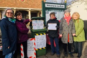 Dee Luntley, Helen Wilson, Georgina Parisi, Amanda Jones and Gay Whymarkhosted petition to overturn the new green bin for residents in the Stratford district of Warwickshire.