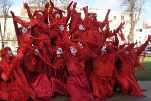 Members of the Red Rebels group, who are part of the Extinction Rebellion movement, staged a climate change in protest in Leamington in 2019.