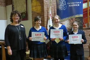 Intermediate winners from Kingsley School with Leamington Spa Regency President Caroline Stanton.'The team were Millie Taylor, Sophie Heelis and Darcey Rogers. Photo supplied
