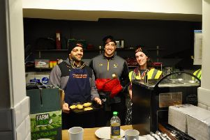 Wasps players Zurabi Zhvania and Jeff Toomaga-Allen get stuck in to cooking at the Big Sleep Out 2020.