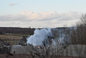 The scrapyard fire in Ryton. Photo by Alex Green.
