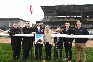 From left to right: Tony Lewis (353), Robert Wigley (The Wigley Group), Albert'Price (93, D-Day veteran), Betty Price, Sandra Lewis (353), Tommy Williams (Warwick Racecourse) and David Fairclough (Royal British Legion).