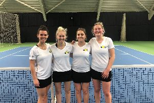 Lee-on-the-Solent ladies at Chiswick, left to right, April Brown, Kelly Burge, Chloe Efford, Rosie Harfield