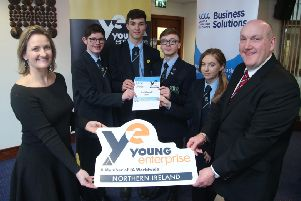 The winning team from FortHill Integrated College are pictured at the final of 'Digital Youth' with Alderman William Leathem, Chairman of the Council's Development Committee and Carol Fitzsimons MBE, Chief Executive with Youth Enterprise NI.