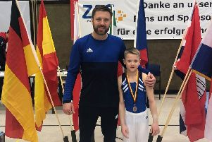 Talented Luke Marsh, 13, has been selected for the British Men's Artistic Performance squad for 2019 - his fourth consecutive year. A member of Rugby Gymnastics Club, he is pictured with his coach Sergiy Kotlyarov at his first international competition in Hannover, Germany in December.