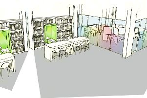 Artist's impression showing pods for quiet study and separate space for meetings