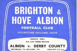 The front cover of the programme when Albion played  Derby in 1961
