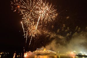 A fireworks display marked the final journey of cruise ship, Saga II.''Picture: Keith Woodland (160219-424)