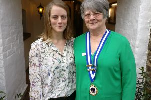 Fryern Ladies Probus' Club president Liz Allen Williams (right) with speaker Helen Lang. Picture by The Roundabout Hotel SUS-190213-130645001