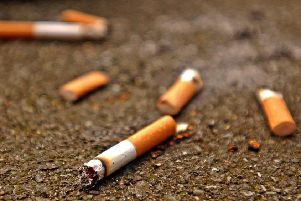 Undated handout photo of cigarette butts in the street. PRESS ASSOCIATION Photo. Issue date: Friday September 14, 2007. The number of cigarette butts dropped on the streets of England has gone up by more than 40% since the smoking ban was brought in, litter campaigners said today. Keep Britain Tidy said the English were much worse for dropping cigarette ends than the rest of the UK. See PA Story ENVIRONMENT Cigarettes. Photo credit should read: Ken Lennox/PA Wire pa_news_20050206_092001_environm