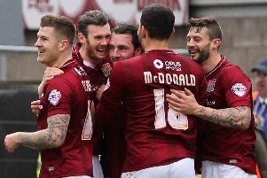 Cobblers smiling and celebrating, a familiar sight during the 2015/16 season...