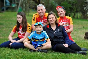 Steve Earl with wife Sarra, and children Ivan, 9, Alfie, 11 and Saskia, 14. The family are taking part in the Tour of Flanders in Belgium to raise money for the British Heart Foundation. Photo: Steve Robards SR1905855 SUS-190203-140411001