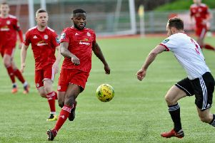 Striker David Ajiboye struck from the spot in Worthing's draw with Brightlingsea Regent. Picture: Stephen Goodger