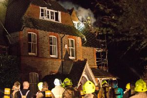 Firefighters at the scene in Horsted Keynes last night (March 26). Photo by Eddie Howland