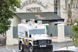Police at the scene after three teenagers have died at a St Patrick's Day party at the Greenvale Hotel in Cookstown