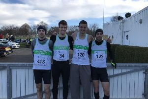 Jo Corbett, Harry Leleu, Mike Houston and Chris Bird pictured at the 2019 Chi Priory 10k