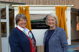 Tessa van Hasselt and Kate Adie at the opening ceremony of the new van Hasselt Centre academic building at Cranleigh School SUS-190430-092905001