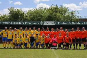 A colourful lot! Players line up for East Dean's end-of-season celebration match