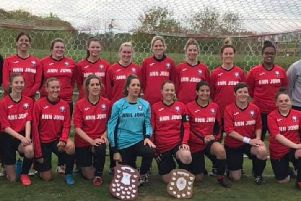 Hassocks Ladies with the league winners trophy. Picture courtesy of Scott McCarthy