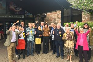 Chichester Lib Dems celebrate election results outside count