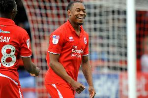 Crawley Town's Ashley Nathaniel-George celebrates his goal during their 3-1 win against Tranmere Rovers. Picture by Steve Robards.