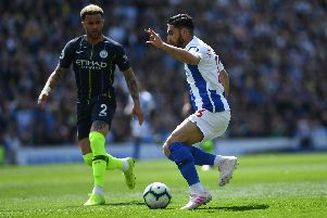 Action from Brighton's Premier League match with Manchester City. Picture by PW Sporting Photography