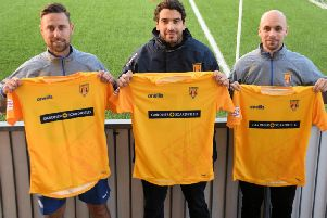 Lancing manager Naim Roune (centre) head coach/assistant manager, David Altendorff (left) and assistant manager/player, Kane Louis