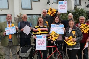Horsham Lib Dems outside Standings Court in April  to highlight how local action can make Horsham a better place to live at the same time as helping tackle climate change.