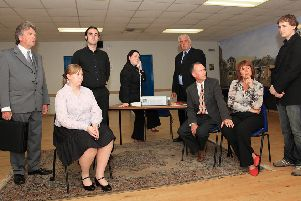 A THRILLER full of suspense and intrigue was performed by Skegness Playgoers at the Skegness Play Festival on Tuesday.'The Small Hours is a gripping international play by Francis Durbridge. It starts on a hijacked plane and weaves a tale of blackmail, affairs of the heart and murder threats.'The play, directed by Sue Sharman, will also appear at the Embassy Theatre, Skegness, on Thursday, June 25 to Saturday, June 27.'Tickets will cost �8, �7 and �2 for accompanied children.'Pictured, from left, Graham Payne, Kim Shaw, Kristian Hariman, Emma Hrycak, David Fisher, Bob Harris, Sharon Harris and Anthony Cooke. Photo www.stevegould.co.uk
