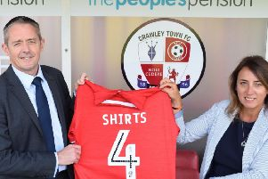 The Peoples Pension chief executive officer Patrick Heath-Lay and Crawley Town operations director Kelly Derham